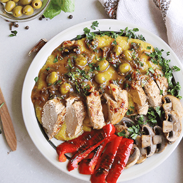 Moroccan Chicken with Sweet Potato Mash & Roasted Veggies (Gluten-Free)