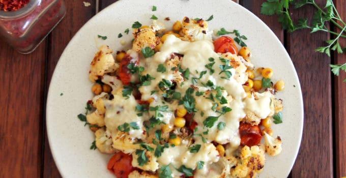 Roasted Cauliflower, Tomatoes and Chickpeas with Tahini (Vegan)